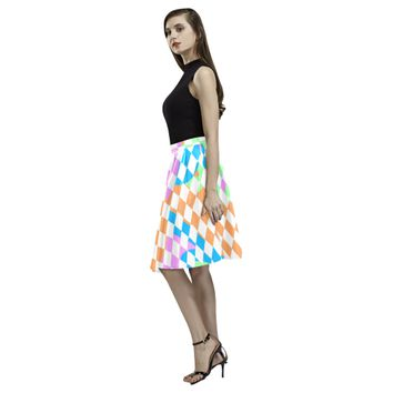 Colorful Retro Checkerboard Melete Pleated Midi Skirt (Model D15) | ID: D2815337