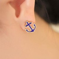 European Style Navy Style Cute Anchor Studs from perfectmall