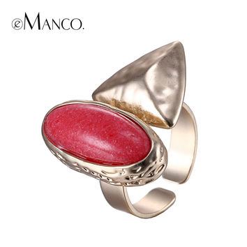 eManco red stone ring geometric metal oval stone opening copper rings women adjustable gold plated finger jewelry bague femme