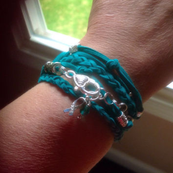 Teal Green Awareness Boho Faux Suede Triple Wrap Bracelet-Leather-Ovarian Cancers-Anxiety Disorder-Sexual Abuse-Stress Disorder