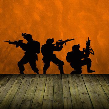 Military Troops Army Airforce Marines Deployed CS Silhouette WALL ART STICKER VINYL DECAL DIE CUT ROOM STENCIL MURAL HOME DECOR