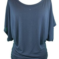 YogaColors Crystal Boatneck Dolman Sleeve Blouse Jersey Tee Up to Plus Size (XX-Large, Navy)