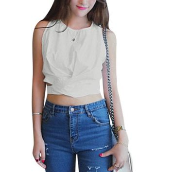 Ladies Round Neck Crossover Pieces Front Cut Out Waist Cropped Top White S - Walmart.com