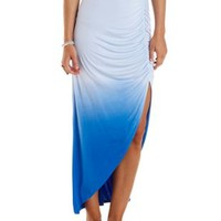 Blue Dip-Dye Ruched Front Slit Maxi Skirt by Charlotte Russe