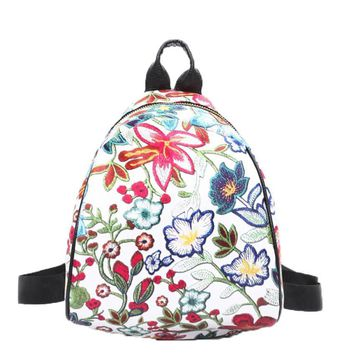 Naivety drop shipping Women Backpack Vintage Embroidery Ethnic Flower PU Leather Travel Shoulder Bags Mini Floral Bag 28S777