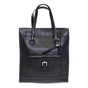 Black CHARLIE Saddle Leather Large Tote Bag