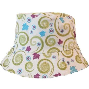 Mens Women Floral White Green Swirls Bucket Hat Cotton Fishing Camping Cap Hunt