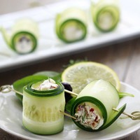 food / cucumber feta roll.  I usually just slice cucumbers and put a little light laughing cow cheese between two slices, but this is like the classy upscale vers of that.