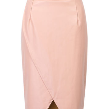 Pink High Waist Ruched Wrap PU Pencil Skirt