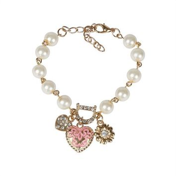 Women Fashion Pearl Crystal Love Heart Bangle Bracelet
