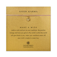 good karma lotus lavender silk necklace, gold dipped - Dogeared
