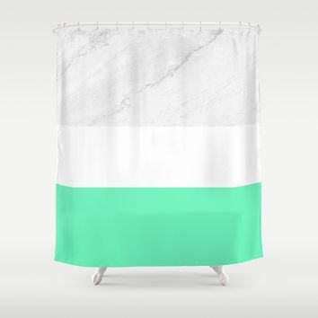 Marble White Mint Shower Curtain by ARTbyJWP