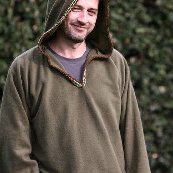 Hoodie for Men in khaki green-  Medieval hoodie - elven hoodie -Psy clothing- pointy hood -SCA clothing - Pointy hood jacket - Pixie jacket