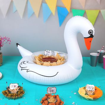 Inflatable White Swan Serving Ring (Perfect for Chips, Fruit, Ice, Party Favors) - PRE-ORDER, SHIPS LATE MARCH