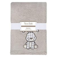Gray Bunny Plush Baby Blanket