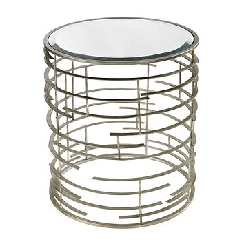 114-92 Contemporary Sculptural Metal Work Side Table With Clear Glass Top - Free Shipping!
