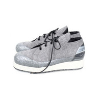 Woolings Moonlight Sneakers - handmade grey wool eco sneakers