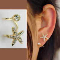 Starfish rhinestone ear clip (single, no perforation)