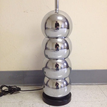 ON SALE Mid Century MCM Stacked 4 Ball Chrome Lamp