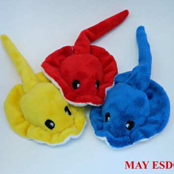 Stingray Pocket Plush: Custom Order White Belly, Red, Blue, and Yellow Embroidered Fluffy Stingray Palm Sized Plush Beanie