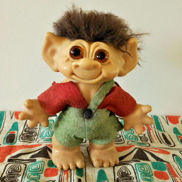 RARE Vintage Thomas Dam Troll Bank, Original 1960's Troll, Thomas Dam Denmark Troll, Brown Hair & Glass Eyes, Red and Green Felt Clothes
