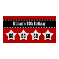 60th Birthday Red Black White Stars Banner V60S Print