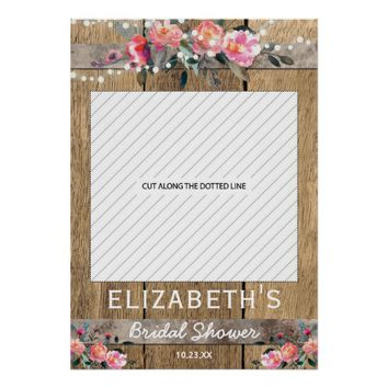 Rustic Country Floral Bridal Shower Photo Prop Poster