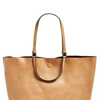 Junior Women's Street Level Reversible Faux Leather Tote - Beige
