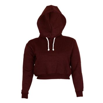 5 Colors Spring Autumn 2017 Women Long Sleeve Cropped Hoodie Sweatshirt Girls Loose Hooded Hoodies Sweatshirts Sudaderas Mujer