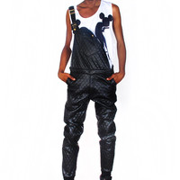 Quilted Leatherette Overalls