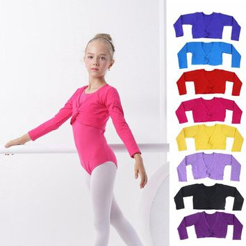 Girls Ballet Crop Tops Dance Leotards Coat High Waist Ballet Clothes Children Long Sleeve Gymnastics Leotard Overall 9 Colors