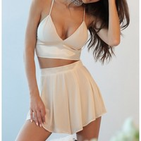 Shorts > Picnic Pretty Two Piece Set In Beige