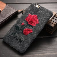 Classic Rose Embroidery Cover For Apple iPhone 6 Plus 6S Plus 5.5 inch Thin Hard Plastic Women Girl Back Cover Mobile Phone Case
