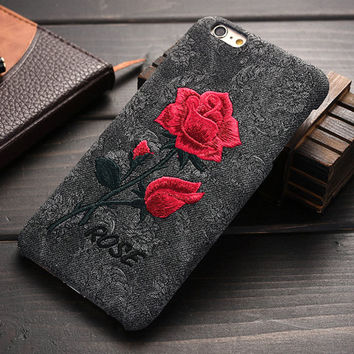 Chic Rose Embroidery Hard Case for iPhone 6 /6S for iPhone 6 /6S /Plus