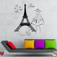 Wall Stickers Vinyl Decal Eiffel Tower Girl With Dog Doves Paris Travel Unique Gift (z1951)