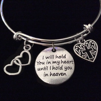 Memorial I will Hold you in my Heart Until I can Hold you in Heaven Expandable Charm Bracelet Silver Adjustable Bangle Gift Inspirational
