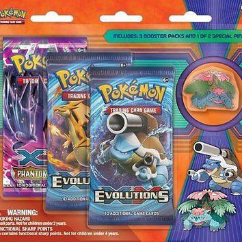 Pokemon Card Game TCG Mega Venusaur or Mega Blastoise Pin 3-pack Blister Booster
