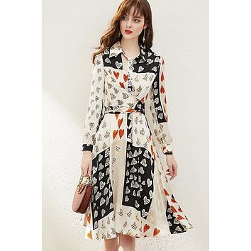 Heart Print Dress W/ Belt