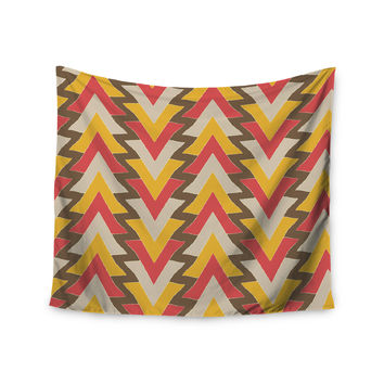 """Julia Grifol """"My Triangles in Red"""" Orange Brown Wall Tapestry"""