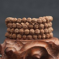 Natural Rudraksha Japa Mala 108 +1 Bead Hindu Prayer Meditation  Bracelet + FREE SHIPPING