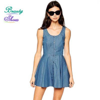 New Fashion 2016 Women's Summer Style Dress O-Neck Sleeveless Denim High Quality Single Breasted Casual Dress Solid Vestidos