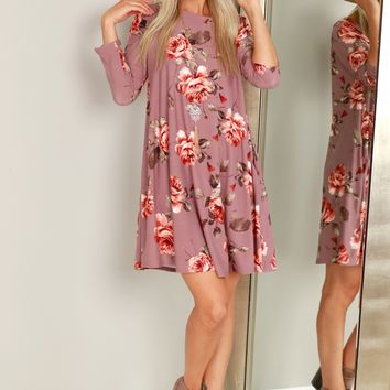 Long Sleeve Floral Dress Dusty Rose