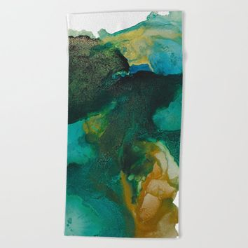 Green and Gold Beach Towel by duckyb