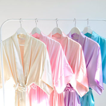 Package of 6 Morning Bliss Satin Getting Ready Bridal bridesmaids Kimono Robes in pastel colors