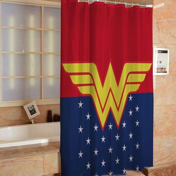 Wonder Women Logo Custom Shower Curtain Hight Quality Print On