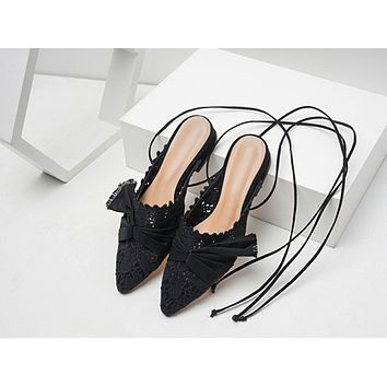 Fashion new hollow cross binding bow bow flat sandals for women
