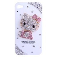 MinisDesign 3D Bling Crystal Flat Back Rhinestone Hello Kitty Case for Apple iPhone 4/4S - Pink