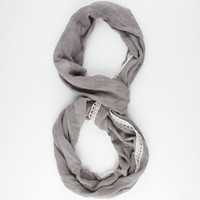 Lace Trim Scarf Grey One Size For Women 25247611501