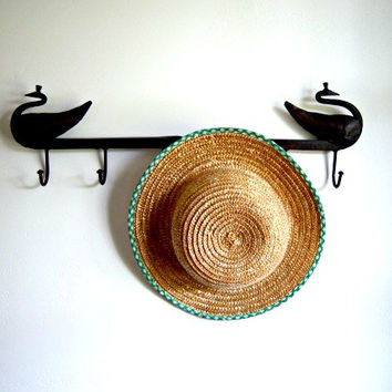 Vintage Girl's Straw Hat Green White Trim