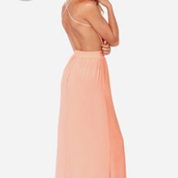 LULUS Exclusive Rooftop Garden Backless Peach Maxi Dress